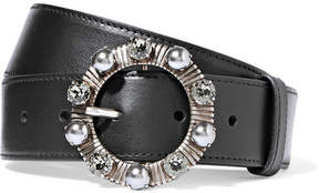 Miu Miu Embellished Leather Belt - Black