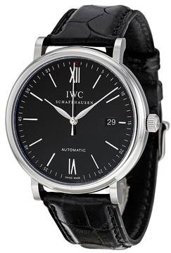 IWC Portofino Automatic Black Dial Black Leather Men's Watch 3565-02