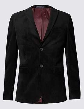 Marks and Spencer Slim Fit Single Breasted 2 Button Velvet Jacket