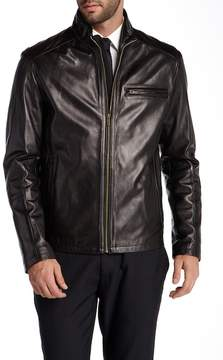 Cole Haan Genuine Lambskin Leather Zip Front Jacket