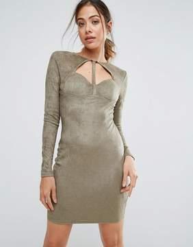 AX Paris Khaki Suede Strappy Bodycon Dress