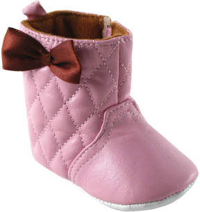 Luvable Friends Pink Quilted Bow-Accent Bootie - Girls