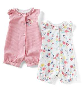 Little Me Baby Girls 3-12 Months Striped/Floral 2-Pack Romper Set