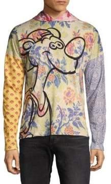 Moschino Mixed-Print Cotton Hoodie