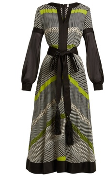 Amanda Wakeley Long-sleeved geometric-print silk midi dress