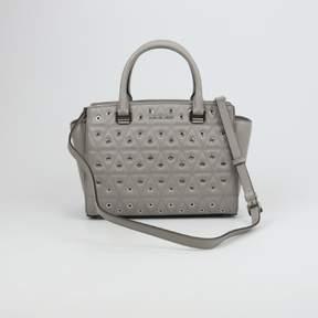 Michael Kors Selma Medium Top-Zip Pearl Grey Satchel Leather - PEARL GREY - STYLE