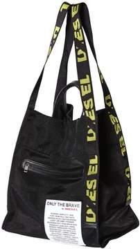 Diesel Logo Webbing Straps Mesh Tote Bag