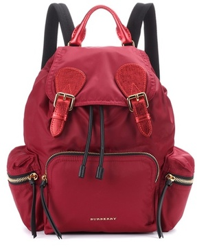 Burberry The Medium leather-trimmed backpack - RED - STYLE