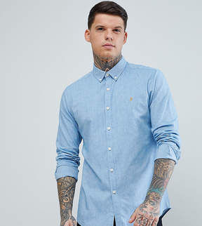 Farah Steen Slim Fit Textured Oxford Shirt in Blue