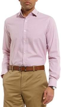Hart Schaffner Marx Long Sleeve Spread Collar Gingham Dobby Sportshirt