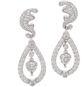 Diamonique Royal Collection Dangle Earrings,Sterling