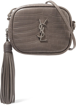 Saint Laurent Monogramme Blogger Croc-effect Leather Shoulder Bag - Dark gray
