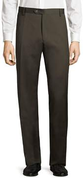 Saks Fifth Avenue BLACK Men's Flat-Front Solid Wool Pants