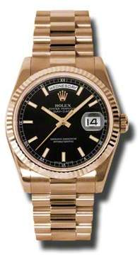 Rolex Day-Date Black Dial 18K Everose Gold President Automatic Men's Watch