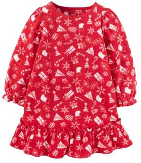Carter's Infant Toddler Girls Red Holiday Fleece Nightgown Gown Nightie 2T