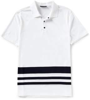 Murano Slim-Fit Liquid Luxury Block Stripe Short-Sleeve Polo Shirt