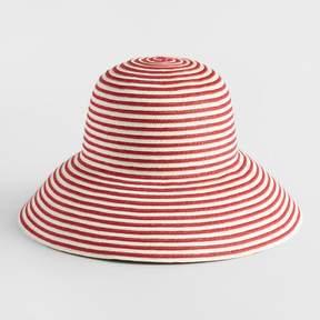 World Market Red and White Stripe Bucket Hat