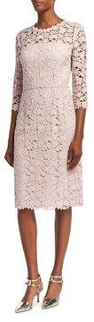 Escada Lace 3/4-Sleeve Sheath Dress, Camellia