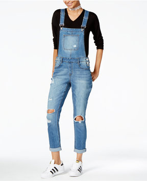 Dollhouse Juniors' Distressed Denim Overalls