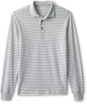 Lands' End Lands'end Men's Supima Long Sleeve Stripe Polo Shirt