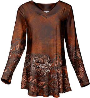 Azalea Rust & Black Floral Long Sleeve V-Neck Tunic - Women & Plus