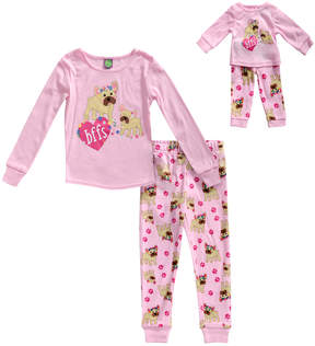 Dollie & Me Pink 'BFFs' Pajama Set & Doll Outfit - Toddler & Girls