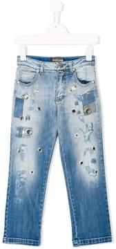 Roberto Cavalli eyelet detail distressed jeans