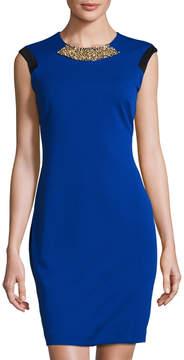 Eliza J Embellished Colorblock Ponte Sheath Dress