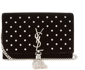 Saint Laurent Kate small velvet cross-body bag - BLACK SILVER - STYLE