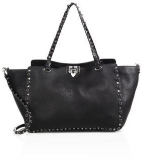 VALENTINO GARAVANI Noir Rockstud Rolling Medium Leather Tote