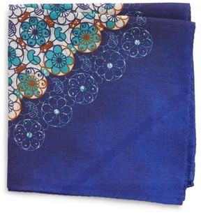 Eton Men's Diamond Floral Silk Pocket Square