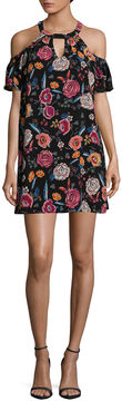 As U Wish Short Sleeve Floral A-Line Dress-Juniors