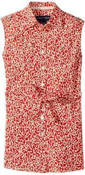 Toobydoo Red & White Sleeveless Shirtdress (Toddler/Little Kids/Big Kids)