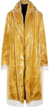 Calvin Klein Layered Pvc And Faux Fur Coat - Yellow