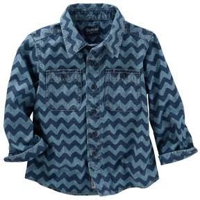 Osh Kosh Boys 4-12 Denim Wave Print Button-Up Shirt