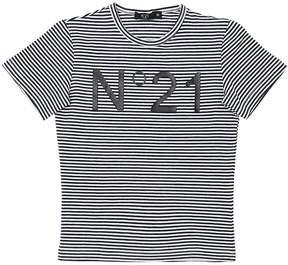 N°21 Stripes Logo Cotton Jersey T-Shirt