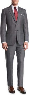 Brioni Windowpane Wool-Silk Two-Piece Suit, Gray