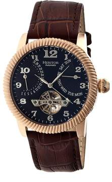 Heritor Piccard Automatic Black Dial Brown Leather Men's Watch