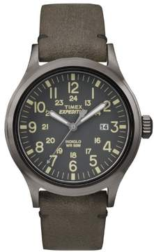 Timex Expedition Metal Scout Brown Leather Gray Dial