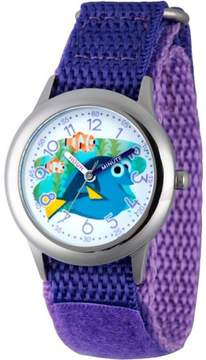 Disney Finding Dory, Nemo, Marlin, and Dory Boys' Stainless Steel Time Teacher Watch, Purple Hook and Loop Nylon Strap