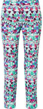 Emilio Pucci Cropped Printed Cotton-blend Faille Slim-leg Pants - Blue