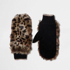 River Island Womens Brown faux fur leopard print mittens