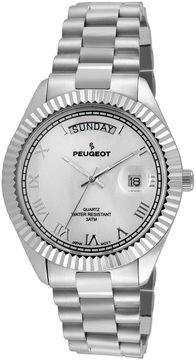 Peugeot Mens Coin-Edge Bezel Stainless Steel Watch