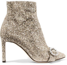 Jimmy Choo Hanover 85 Crystal-embellished Glittered Leather Ankle Boots - Silver