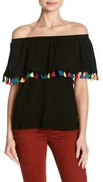 Velvet by Graham & Spencer Hermione Tassel Off-the-Shoulder Shirt