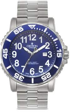 Croton Men's All Stainless Steel Blue Dial Quartz Sport Watch with Date & Blue Rotating Bezel
