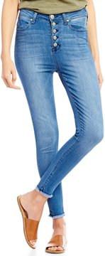 Celebrity Pink Exposed Button High-Rise Frayed Hem Ankle Skinny Jeans