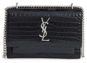 Saint Laurent Mini Monogram Sunset Croc Embossed Leather Shoulder Bag - Black - BLACK - STYLE