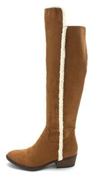 Mia Womens Fawn Fabric Almond Toe Knee High Fashion Boots.