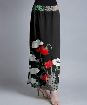Lily Black & Red Poppies Maxi Skirt - Women & Plus